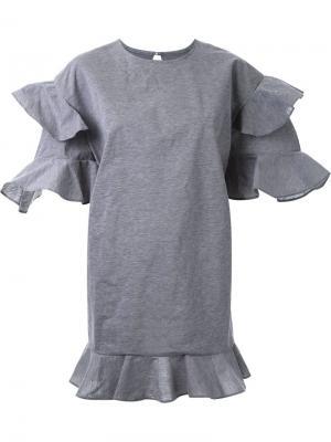 Платье мини с оборками DressCamp. Цвет: серый