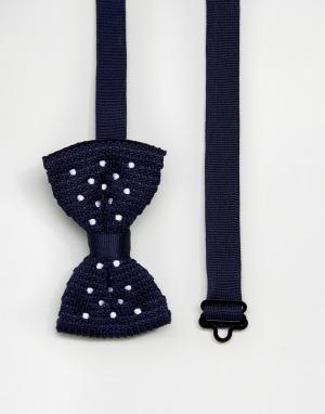 ASOS Темно-синий галстук-бабочка в горошек. Цвет: темно-синий