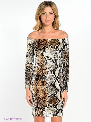 Платье adL. Цвет: коричневый, кремовый, черный