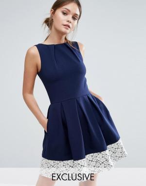 Closet London Короткое приталенное платье с кружевом по краю 5707053