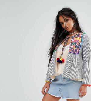 Sisters of the Tribe Фестивальная куртка с вышивкой и помпонами Petite. Цвет: мульти