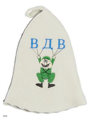Шапка для бани с вышивкой в косметичке ВДВ Метиз. Цвет: белый, серый