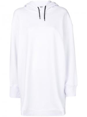 Короткое платье-толстовка MSGM. Цвет: белый