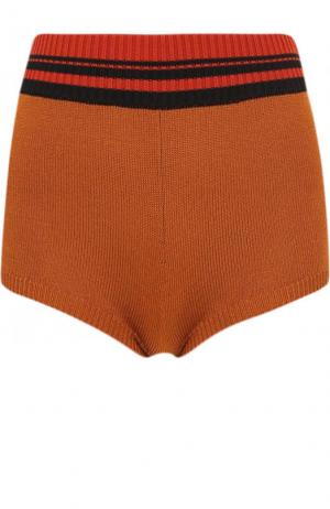 Вязаные мини-шорты из вискозы Dries Van Noten. Цвет: светло-коричневый