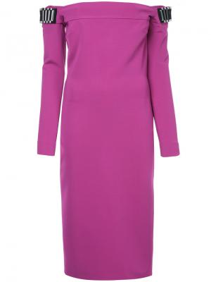 Платье миди с открытыми плечами David Koma. Цвет: розовый и фиолетовый