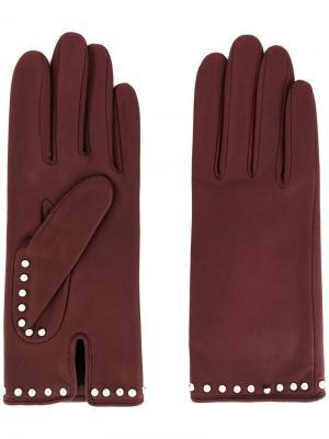 Перчатки с заклепками Agnelle. Цвет: коричневый