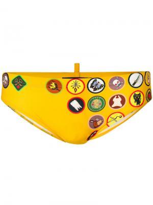Printed patch swim briefs Dsquared2. Цвет: жёлтый и оранжевый