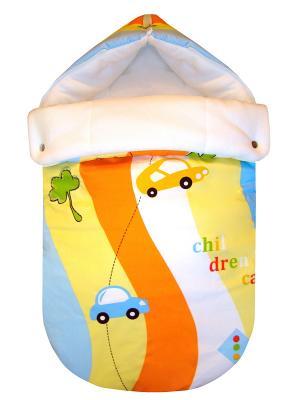 Конверт на выписку JustCute Радуга (весна) СуперМаМкет. Цвет: оранжевый, зеленый, голубой