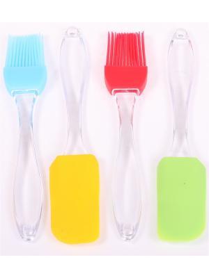 Кухонные силиконовые лопаточки и кисточки, набор из 4 шт., зеленая, синяя, желтая, красная. Радужки. Цвет: синий,зеленый,красный