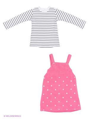 Комплект (платье+джемпер) Bubble kids. Цвет: фуксия, белый
