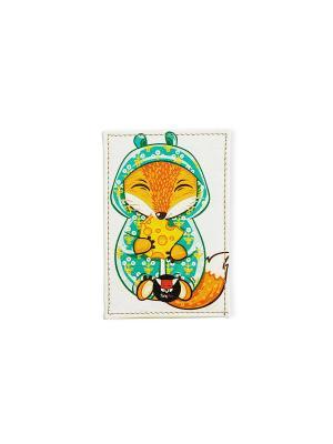 Чехол для проездного Лисик и сыр TonyFox. Цвет: белый, зеленый, оранжевый