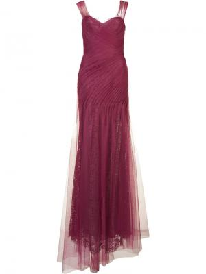 Вечернее платье с драпировкой Monique Lhuillier. Цвет: розовый и фиолетовый
