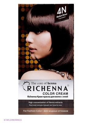 Крем-краска для волос с хной № 4N ( Brown) Richenna. Цвет: коричневый
