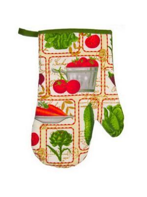 Овощной микс Прихватка-варежка, полиэстер, 27см Vetta. Цвет: зеленый, красный