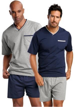 Пижама с шортами, 2 штуки LE JOGGER. Цвет: темно-синий+серый меланжевый