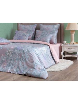 Двуспальное постельное белье из сатина.Китайский сад в.1. Хлопковый Край. Цвет: серый,бледно-розовый