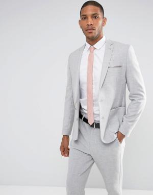 ASOS Серый приталенный пиджак с контрастной розовой подкладкой. Цвет: серый