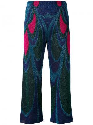 Широкие металлизированные укороченные брюки Circus Hotel. Цвет: синий