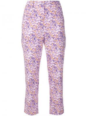 Укороченные брюки с цветочным принтом Blumarine. Цвет: розовый и фиолетовый