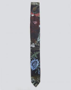 ASOS Галстук с цветочным принтом. Цвет: черный
