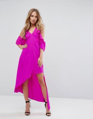 Adelyn Rae Асимметричное платье с вырезами на плечах Oliana. Цвет: розовый