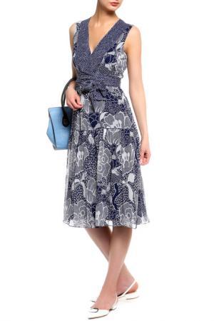 Платье DIANE VON FURSTENBERG. Цвет: темно-синий, белый принт