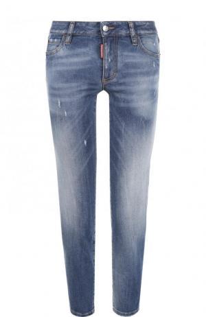 Укороченные джинсы с потертостями Dsquared2. Цвет: голубой