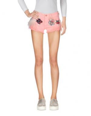 Джинсовые шорты ANGELA MELE MILANO. Цвет: лососево-розовый
