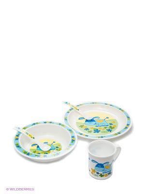 Набор посуды Canpol babies, 5 предметов babies. Цвет: голубой, белый, желтый