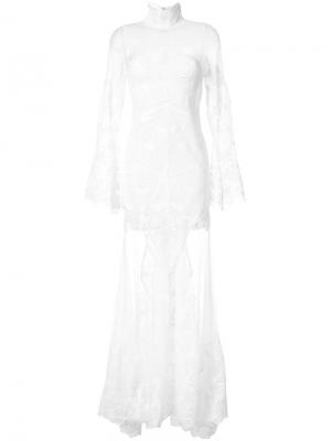 Кружевное длинное платье с длинными рукавами Jonathan Simkhai. Цвет: белый