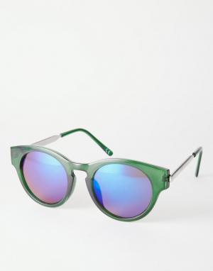 Trip Круглые солнцезащитные очки. Цвет: зеленый