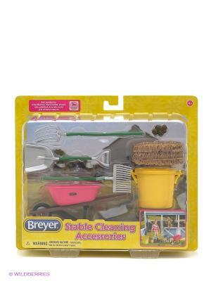 Набор аксессуаров для чистки конюшни Breyer. Цвет: розовый, желтый, зеленый