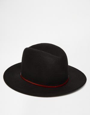 Catarzi Мягкая фетровая шляпа с широкими полями. Цвет: черный