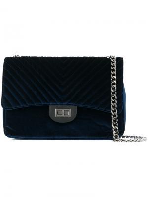 Большая стеганая сумка Marc Ellis. Цвет: синий