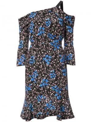 Платье с открытыми плечами и принтом Saloni. Цвет: чёрный