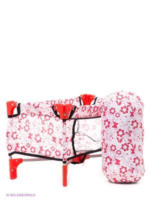 Кроватка-манеж для кукол 1Toy. Цвет: красный, белый