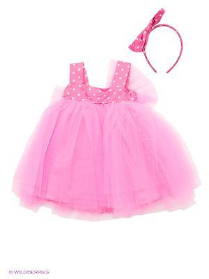 Платье для девочек + ободок Perlitta. Цвет: розовый