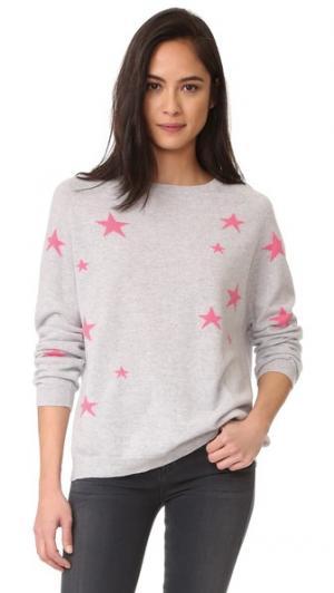 Кашемировый свитер с напуском Star Chinti and Parker. Цвет: серебряный фактурный/розовый