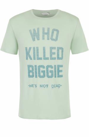 Хлопковая футболка с контрастной надписью Elevenparis. Цвет: светло-зеленый