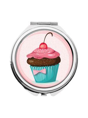 Зеркальце карманное Пирожное Chocopony. Цвет: голубой, розовый