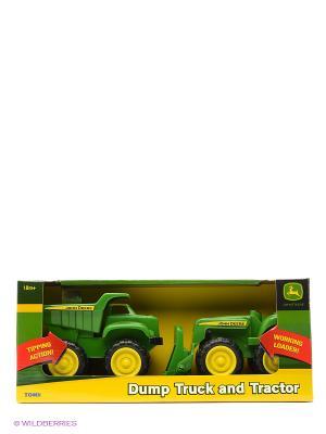 Игровой набор Трактор и самосвал John Deere Tomy. Цвет: черный, антрацитовый, желтый