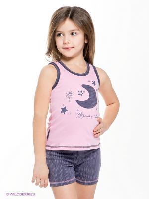 Пижама для девочки Lucky Child. Цвет: темно-серый, розовый