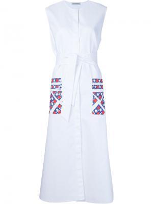 Платье-рубашка с принтом Vika Gazinskaya. Цвет: белый
