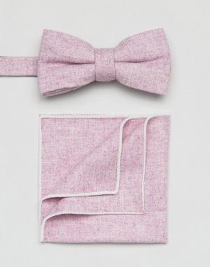 7X Галстук-бабочка и платок для пиджака. Цвет: фиолетовый
