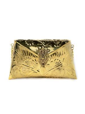 Сумка-клатч ручной работы из металла, Золото Indira. Цвет: желтый