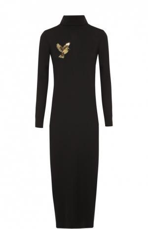 Вязаное платье с высоким воротником и вышивкой пайетками Markus Lupfer. Цвет: черный