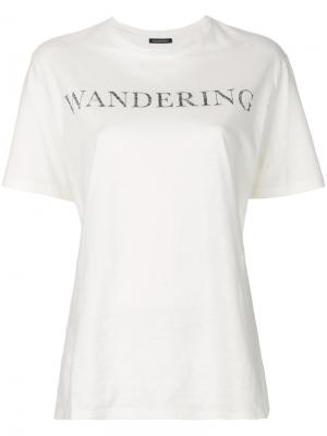 Футболка с принтом логотипа Wandering. Цвет: белый