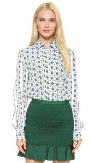 Блуза с рукавами и планкой CG. Цвет: цветочный коллаж