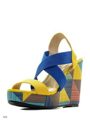 Босоножки MARIE COLLET. Цвет: синий, желтый