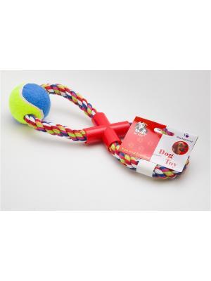 Игрушка канатная восьмерка с мячом, 43 см Doggy Style. Цвет: салатовый